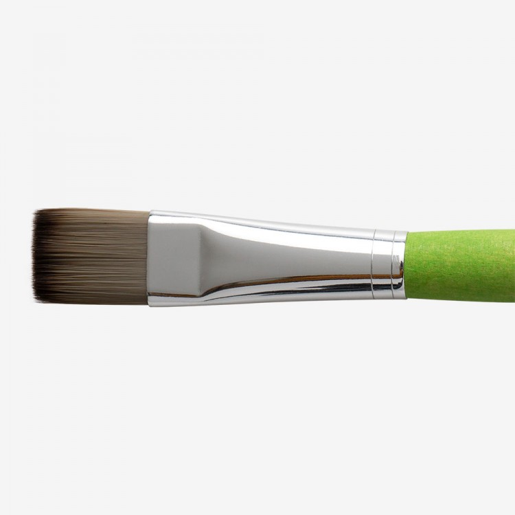 Da Vinci : Hobby and School Green Painting Brush : Flat : Size 20