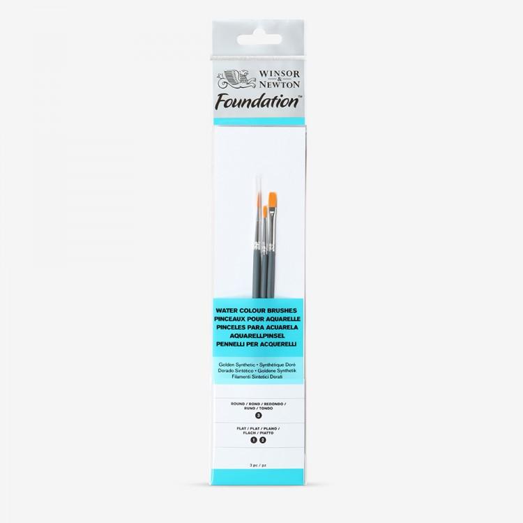 Winsor & Newton : Foundation Watercolour Brush Set : Round 3 Flat 1 & 2
