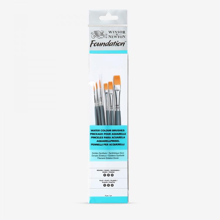 Winsor & Newton : Foundation Watercolour Brush Set : SH Round 2, 3 & 5 Flat 3, 5 & 6