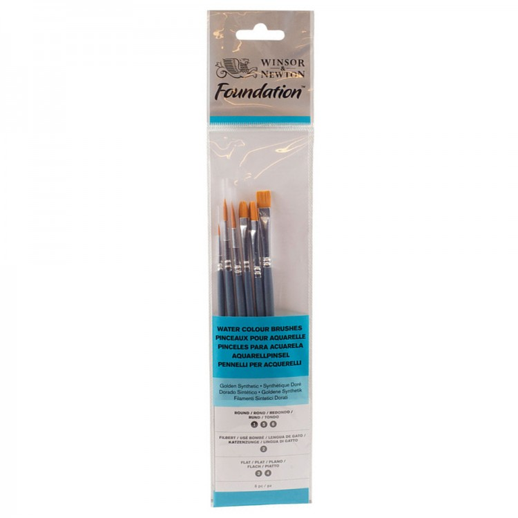 Winsor & Newton : Foundation Watercolour Brush Set : SH Round 1, 5 & 6 Flat 3 & 4 Filbert 2