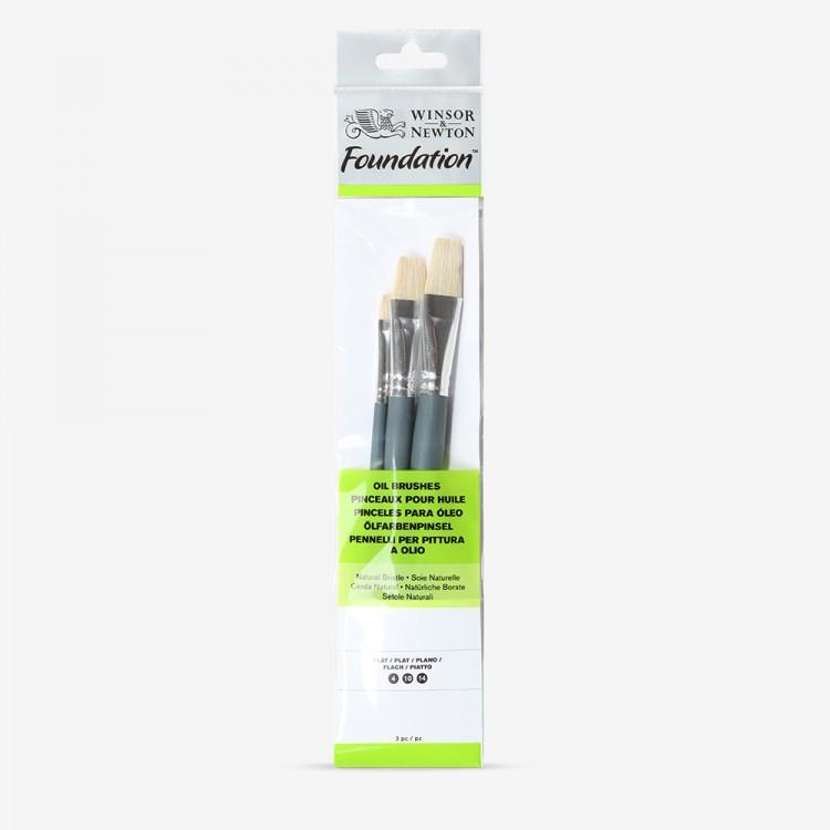 Winsor & Newton : Foundation Oil Brush Set : SH Flat 4, 10 & 14