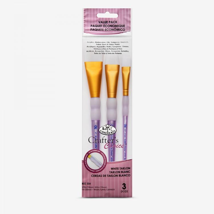 Royal Brush : 3Pc White Taklon Wash Brush Set