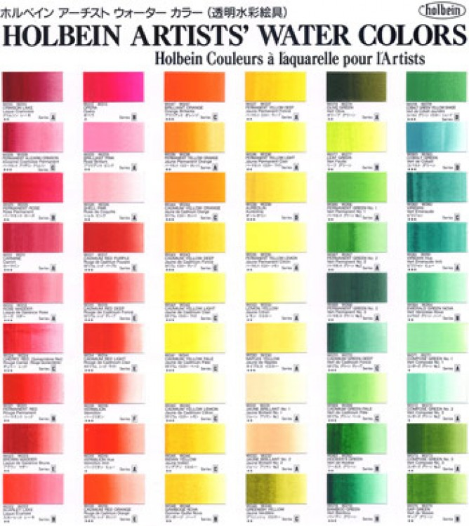 HOLBEIN WATERCOLOUR : HAND PAINTED COLOUR CHART