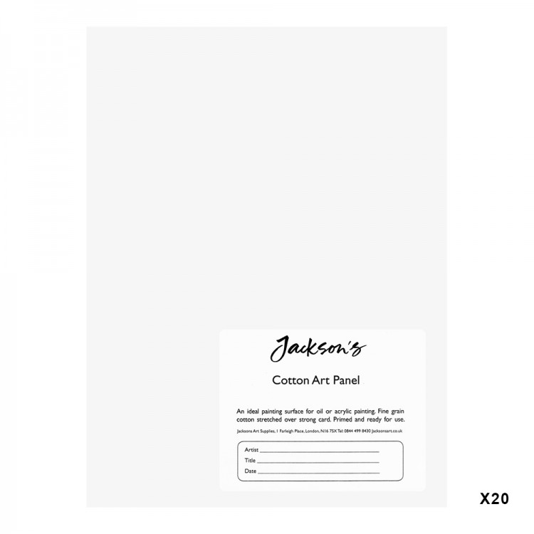 Jackson's : 3mm Cotton Art Board : Canvas Panel : 6x8in : 20 Pack