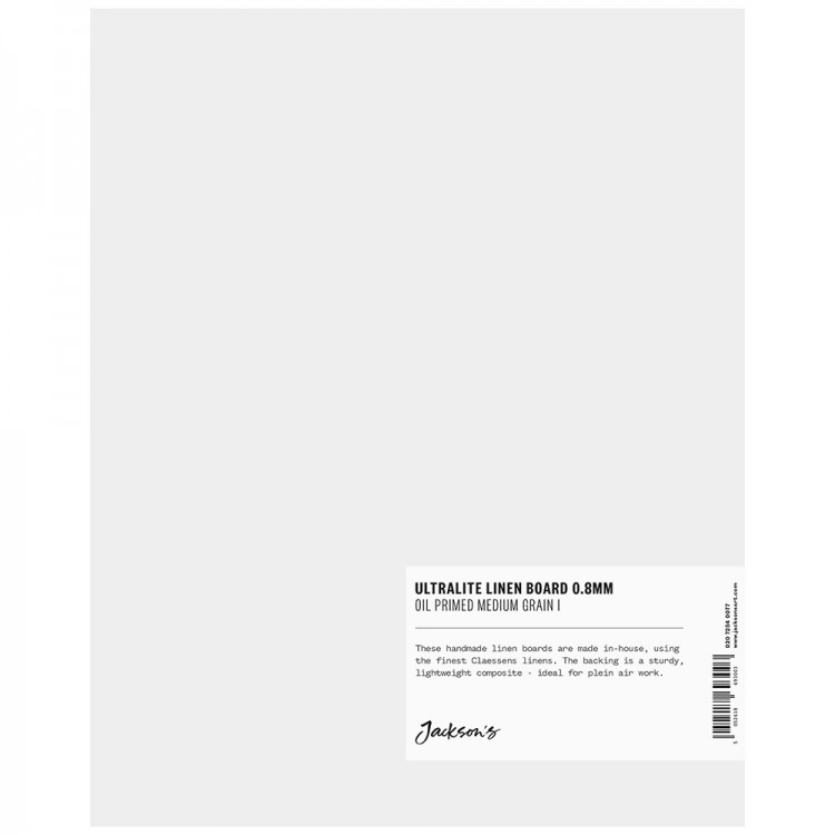 Jackson's : 0.8mm : Ultralite Linen Board : 8x10in : Claessens 66 Medium Surface : Oil Primed : 460gsm