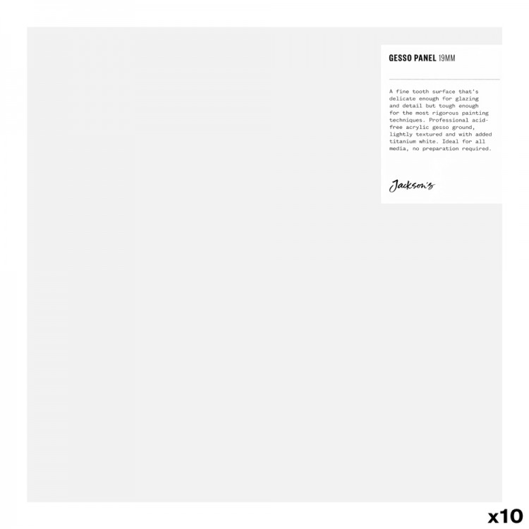 JAS : 19mm White Gesso Cradled Painting Panel : 10x10in : Box of 10