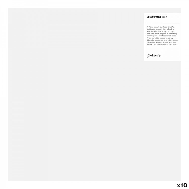 Jackson's : 19mm White Gesso Cradled Painting Panel : 12x12in : Box of 10