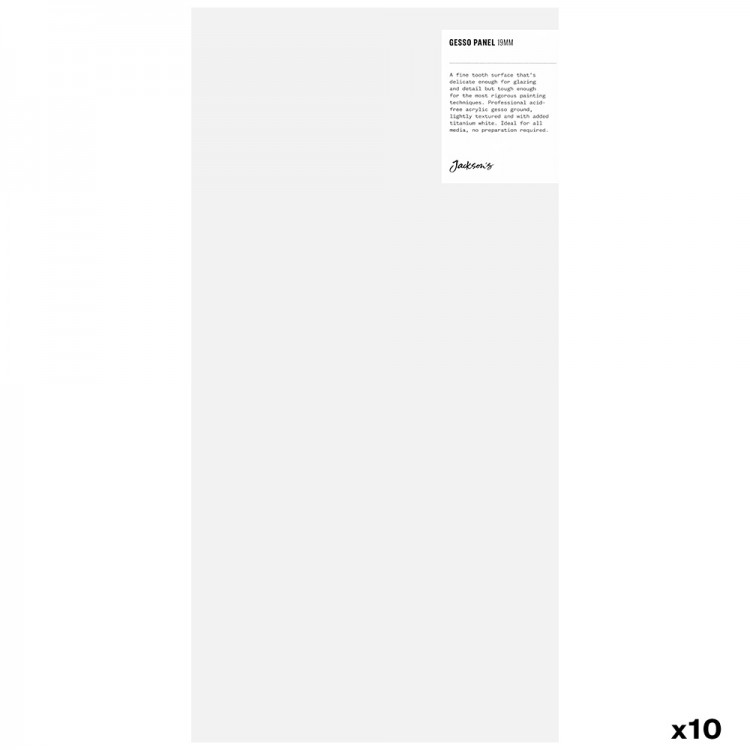 JAS : 19mm White Gesso Cradled Painting Panel : 8x16in : Box of 10