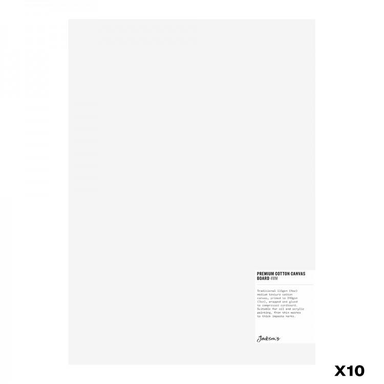 Jackson's : Box of 10 : Premium Cotton Canvas Art Board 4mm : 10x14in (Apx.25x35cm)