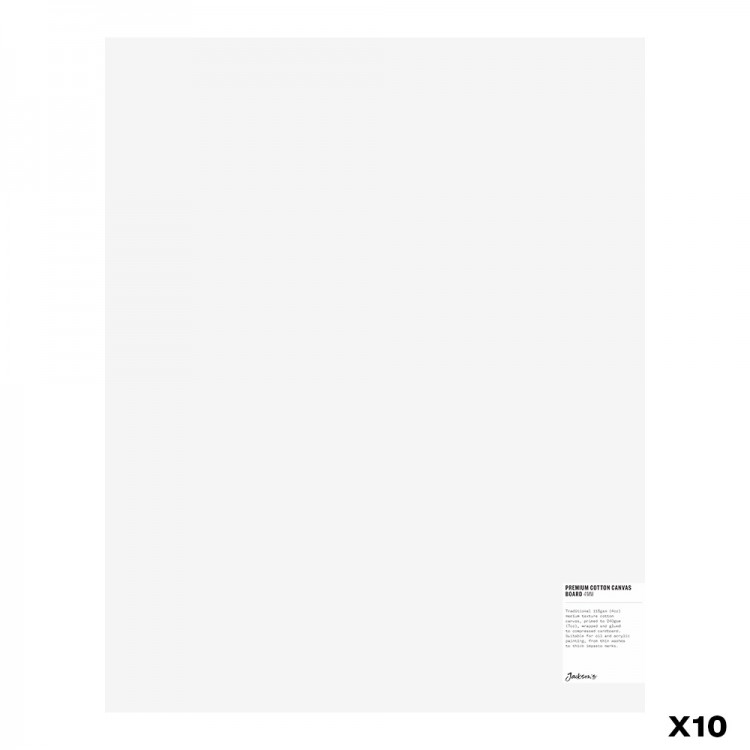 Jackson's : Box of 10 : Premium Cotton Canvas Art Board 4mm : 16x20in (Apx.40x50cm)
