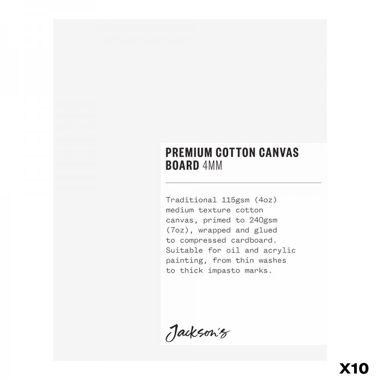 Jackson's : Box of 10 : Premium Cotton Canvas Art Board 4mm : 4x5in (Apx.10x13cm)