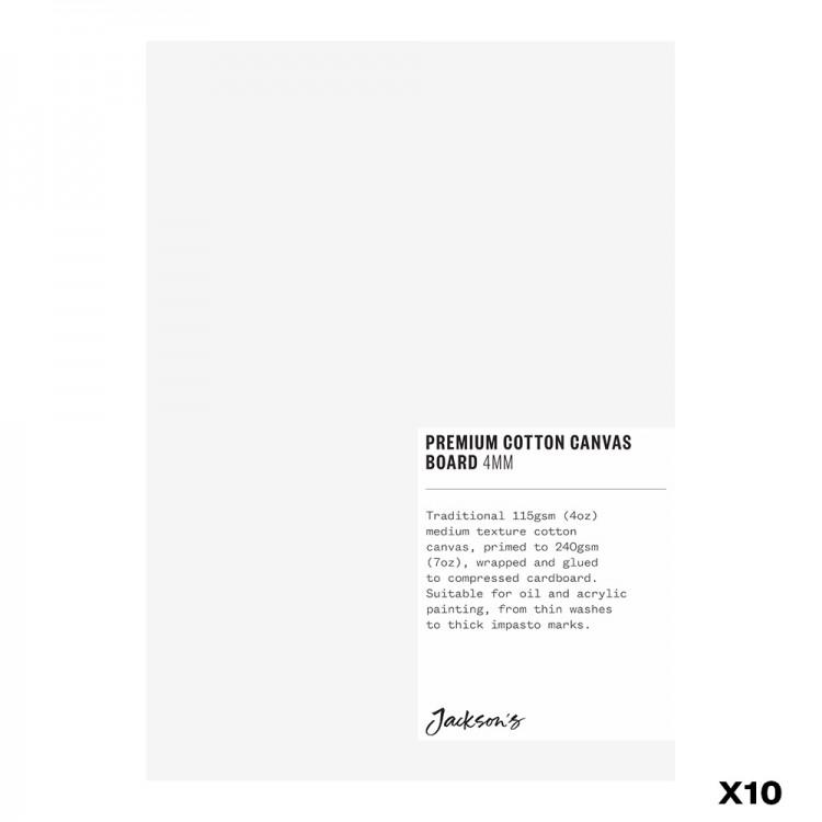 JACKSON'S : BOX OF 10 : PREMIUM COTTON CANVAS ART BOARD 4MM : 5X7IN (APX.13X18CM)