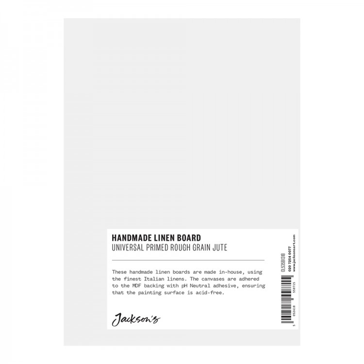 JACKSON'S : HANDMADE BOARDS : UNIVERSAL PRIMED ROUGH JUTE CL565 ON MDF BOARD : 13X18CM