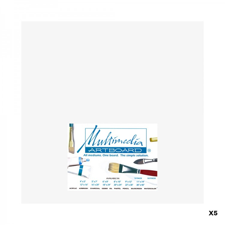 MULTIMEDIA ARTBOARD : ARTIST PANEL : 0.8 MM : 5 PACK : 9X12IN : WHITE