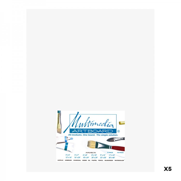 Multimedia Artboard : Artist Panel : 0.8 mm : 5 Pack : 11x14in : White