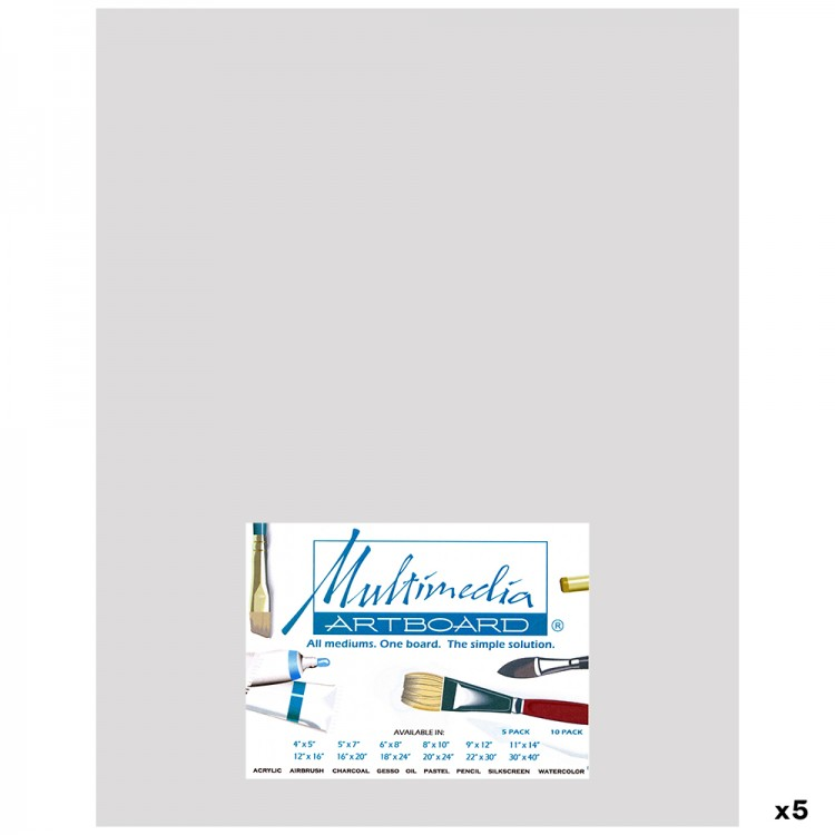 Multimedia Artboard : Pastel Artist Panel : 0.8 mm : 320 Grit : 5 Pack : 11x14in : Light Grey