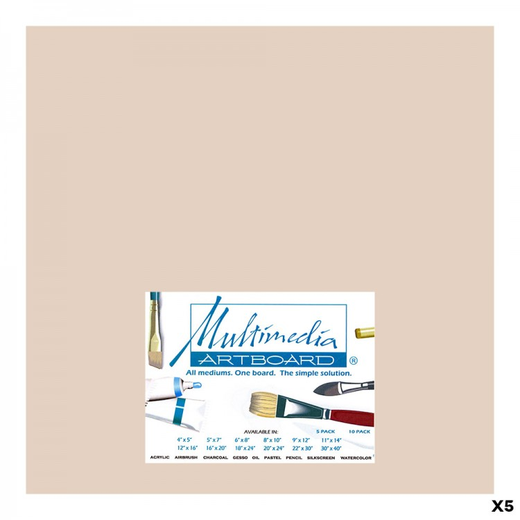 Multimedia Artboard : Pastel Artist Panel : 0.8 mm : 320 Grit : 5 Pack : 12 x12in : Sandstone