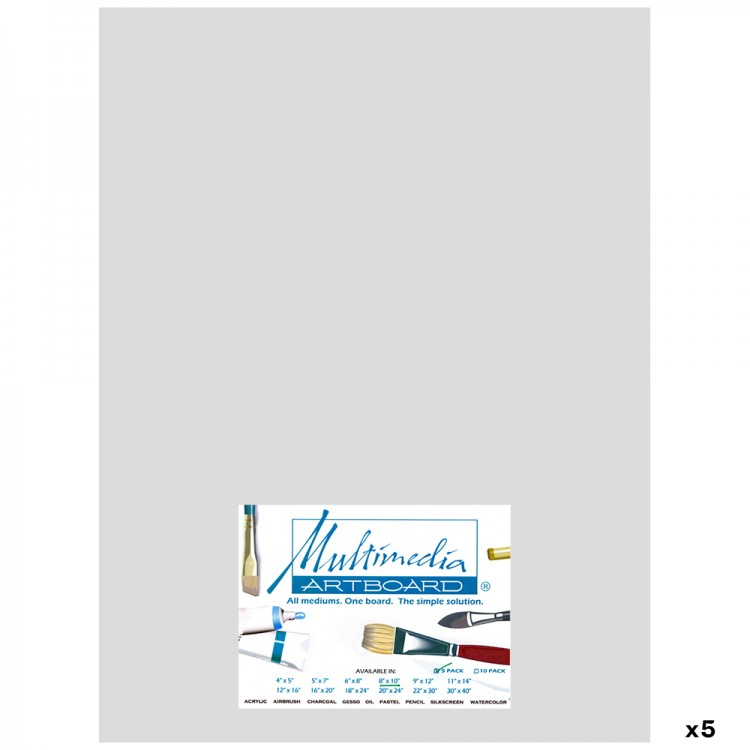 Multimedia Artboard : Pastel Artist Panel : 0.8 mm : 320 Grit : 5 Pack : 12x16in : Light Grey