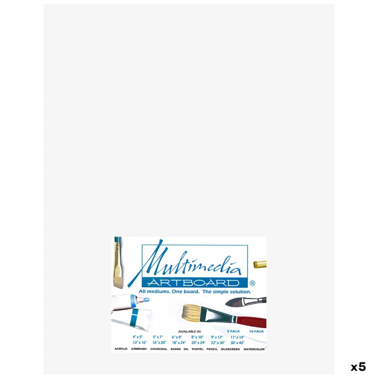 Multimedia Artboard : Pastel Artist Panel : 0.8 mm : 320 Grit : 5 Pack : 11x14in : White