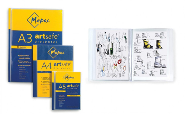 Mapac : A4 Artsafe Presenter : 20 Clear Sleeve Presentation Folders that hold up to 40 pages