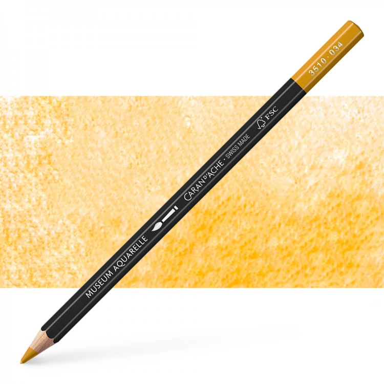 Caran d'Ache : Museum Aquarelle Pencil : Yellow Ochre
