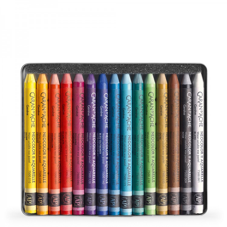 Caran d'Ache : Neocolor II : Watercolour Crayon : 15 in a Metal Box
