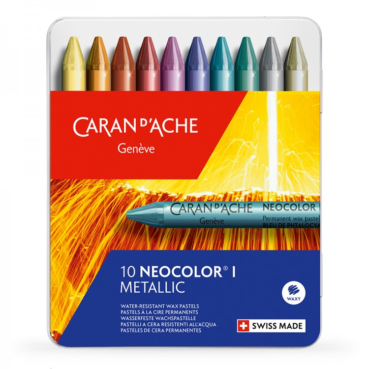 Caran d'Ache : Neocolor I : 10 Wax Metallic Crayons : Metal Box (non watersoluble)