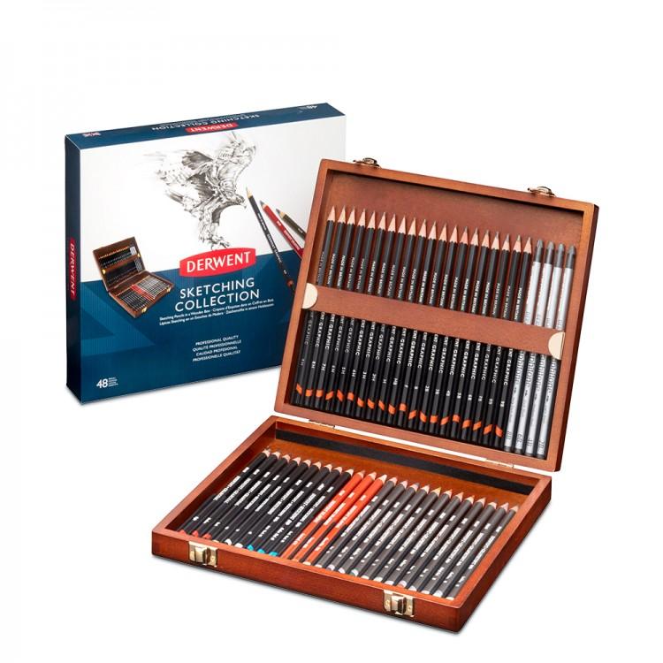 Derwent : Sketching Pencil : Wooden Box Set of 48