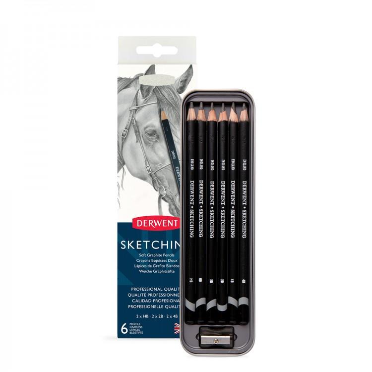 Derwent : Sketching Pencil : Tin Set of 6