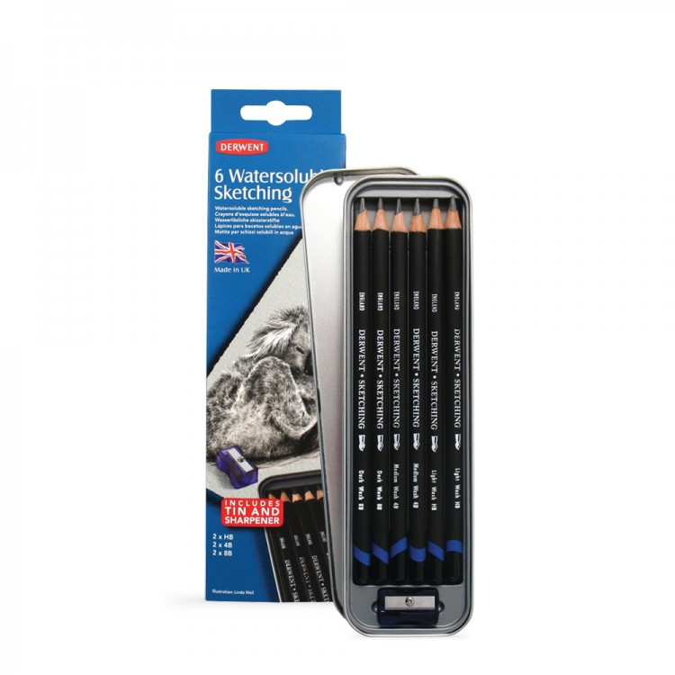 Derwent : Watersoluable Sketching Pencil : Tin Set of 6