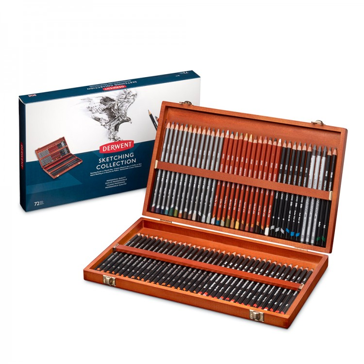 Derwent : Sketching Pencil : Wooden Box Set of 72