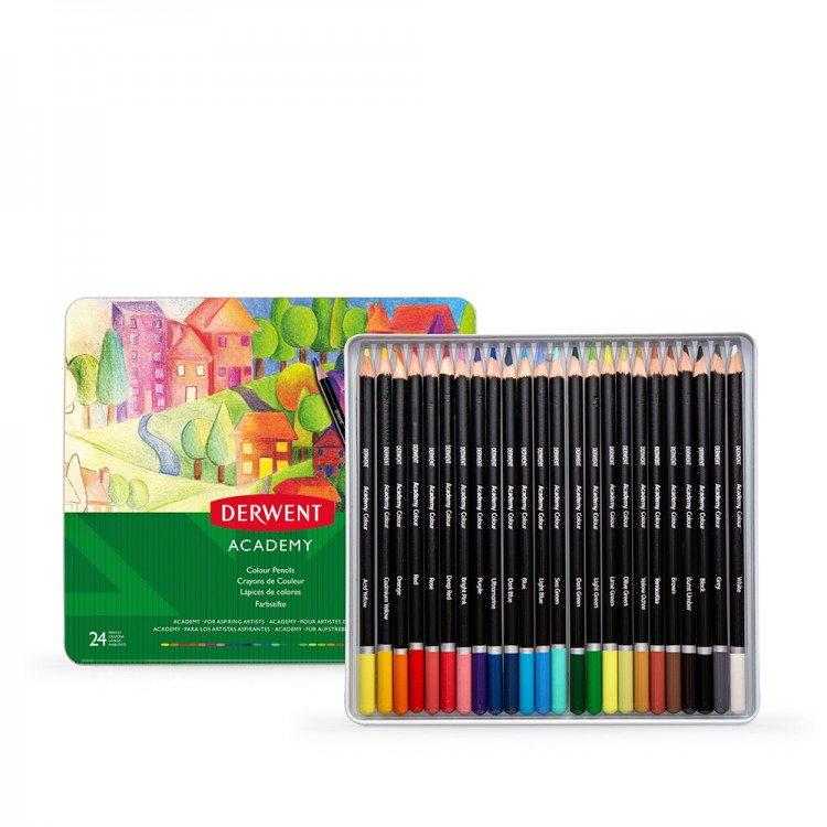 Derwent : Academy Colour : Tin Set of 24