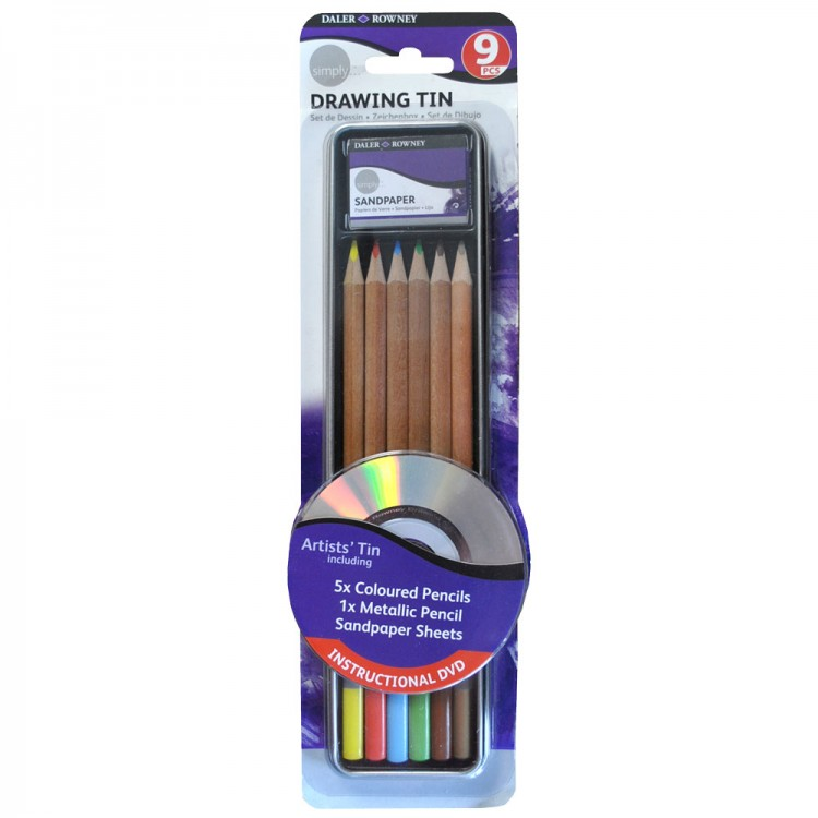 Daler-Rowney : Simply Pencil : Drawing Tin Set : Set Of 9