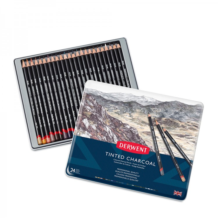 Derwent : Tinted Charcoal Pencil : Metal Tin Set of 24