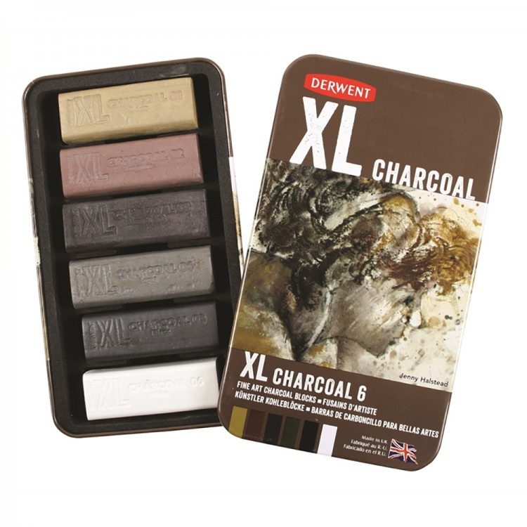 Derwent : XL Charcoal : Tin of 6