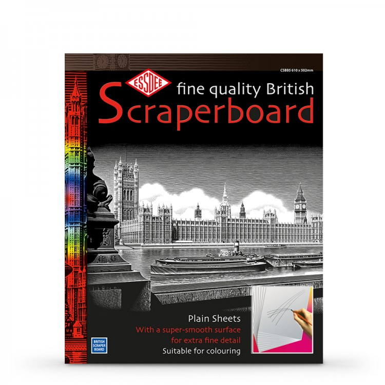 Essdee : Scraperboard : White : 610x502mm : Pack of 10 Sheets
