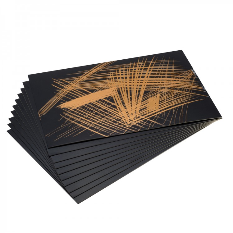 Essdee Scraperfoil Black coated Goldfoil: 305x229mm pack of 10 sheets
