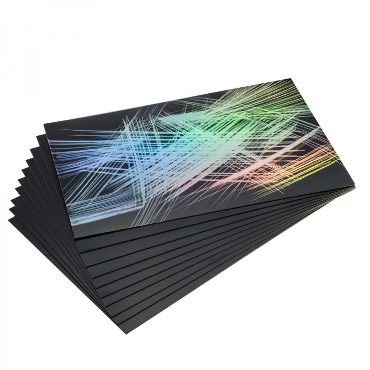 Essdee Scraperfoil Black coated Rainbow foil: 152x101mm pack of 10 sheets