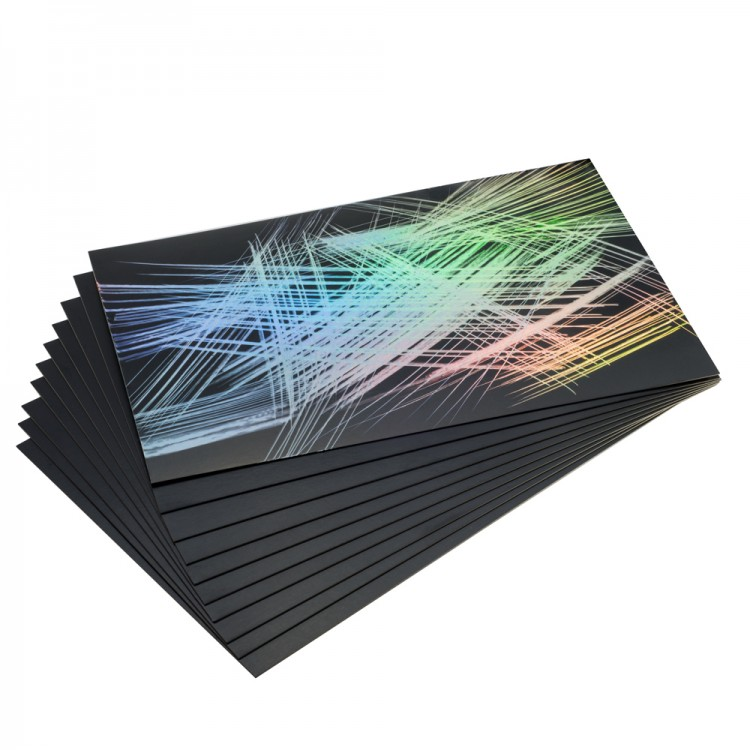 Essdee Scraperfoil Black coated Rainbow foil: 229x152mm pack of 10 sheets