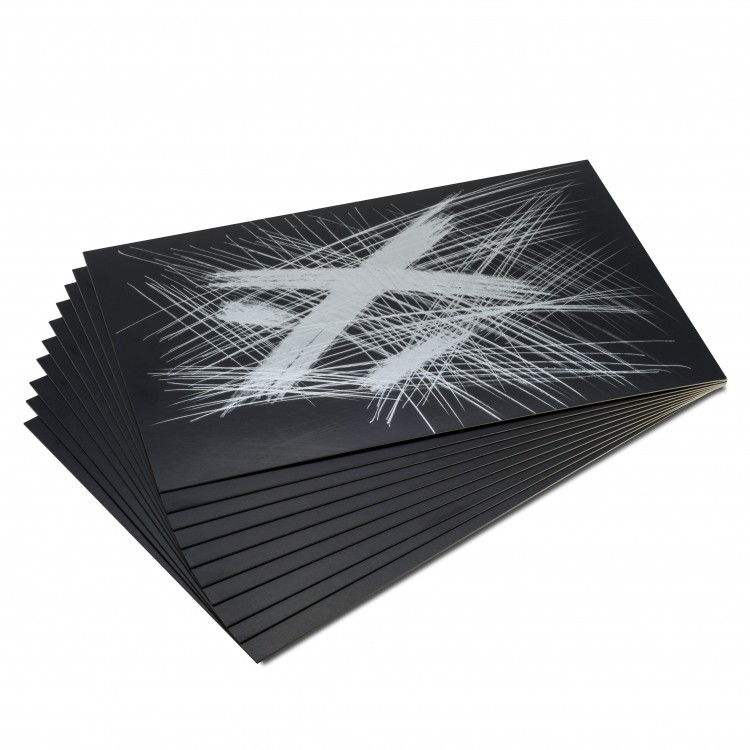 Essdee : Scraperfoil : Black coated Silverfoil : 457x305mm : Pack of 10 Sheets