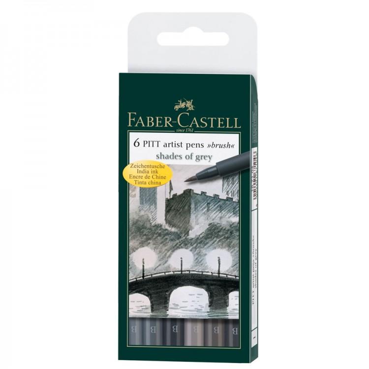 Faber Castell : Pitt Artists Brush Pen : Set of 6 : Shades of Grey