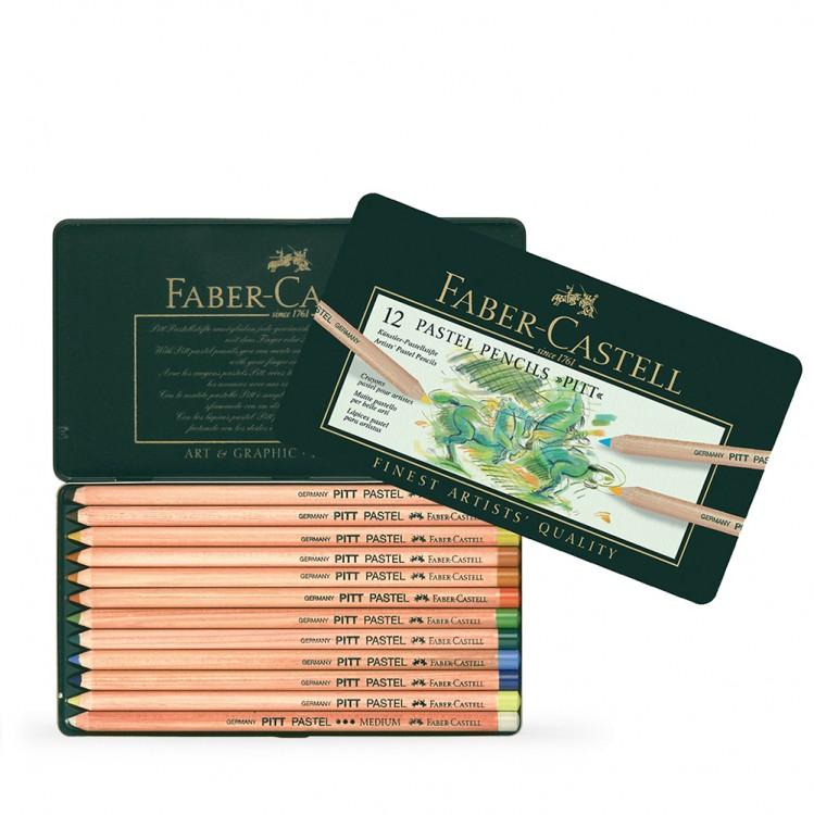 Faber Castell : Pitt Pastel Pencil : Metal Tin Set of 12