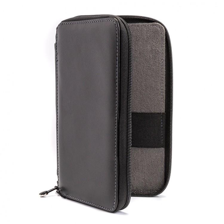 Global : Leather Black Folding Colour Pencil Case Holds 24