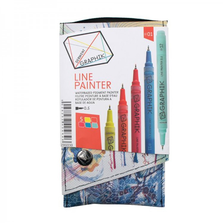 Derwent Graphik Line Painter Pens Pack of 5 Palette 01