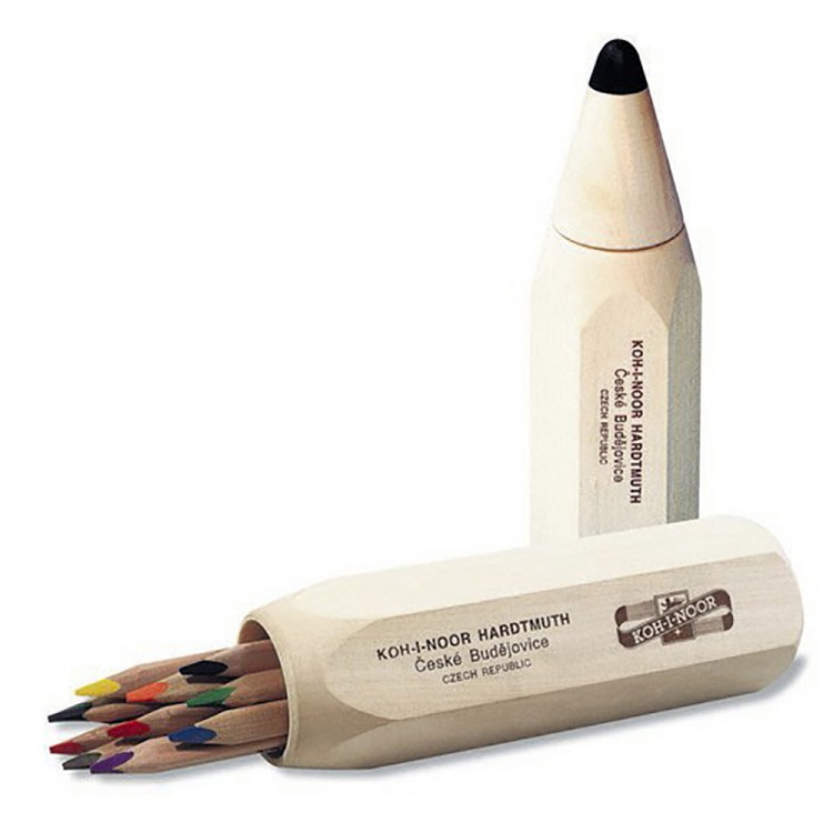 Koh-I-Noor : Jumbo Triocolor Set of 10 Triangular Coloured Pencils in Large Pencil Container 7004