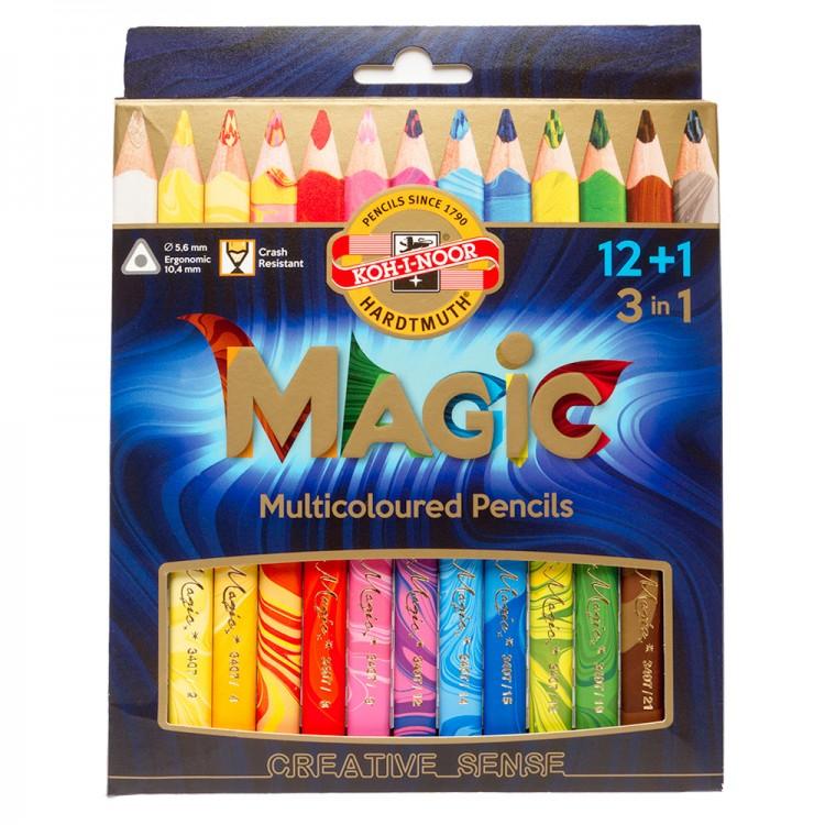 Koh-I-Noor : Jumbo Triangular Coloured Pencils 3408 : Magic Set of 13 : FSC 100%