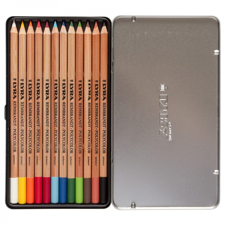 LYRA : REMBRANDT POLYCOLOR COLOURED PENCIL SET : METAL BOX 12 PCS