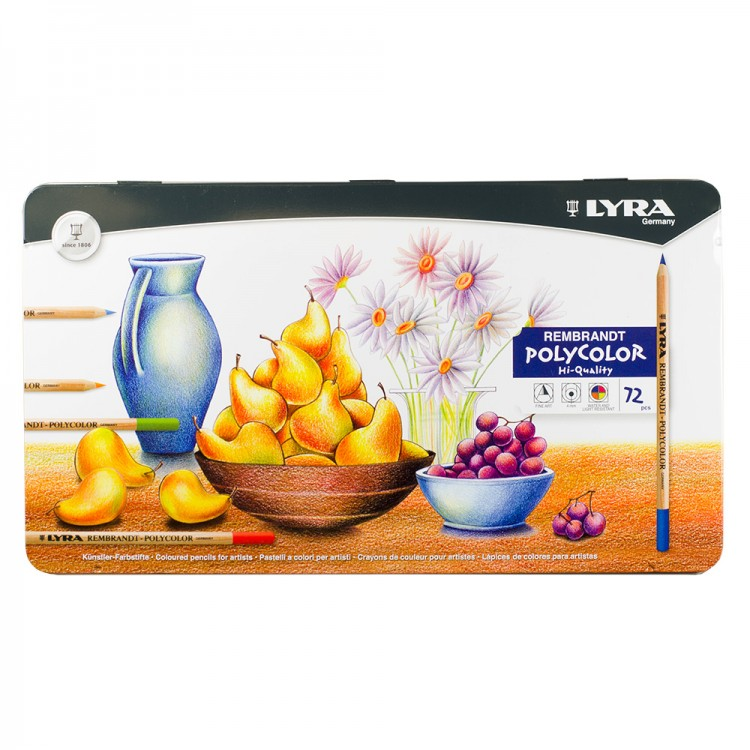 Lyra : Rembrandt Polycolor Coloured Pencil Set : Metal Box 72 pcs