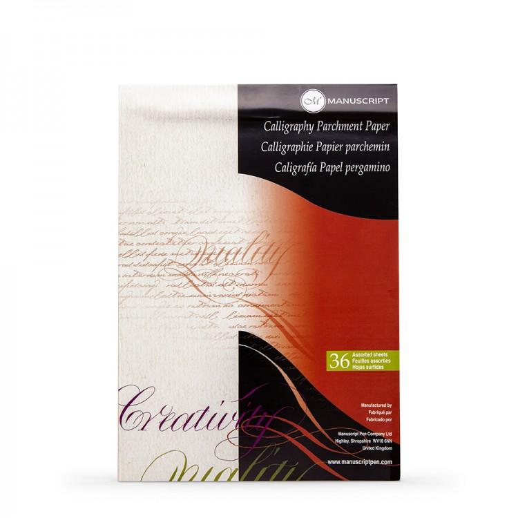 Manuscript : Calligraphy : Parchment Pad - 36 assorted colour sheets