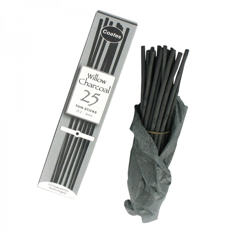 Coates : Thin Charcoal : 25 Sticks